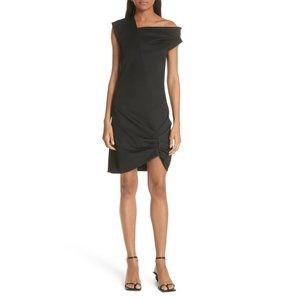 Helmut Lang Ruched High/Low Drape Black Dress NWT
